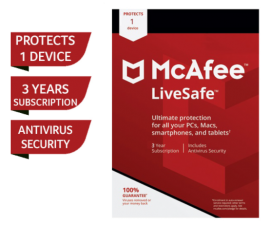 McAfee® LiveSafe™ - 3 Years Subscription (for 1 user)